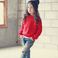 Buenos Ninos Christmas red plus velvet sweatshirts BACK letter printed o-neck long sleeve fashion warm autumn  bottom tops 40