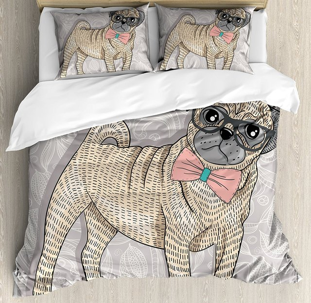 Pug Duvet Cover Set Hipster Pug With Nerdy Glasses And Bow Tie