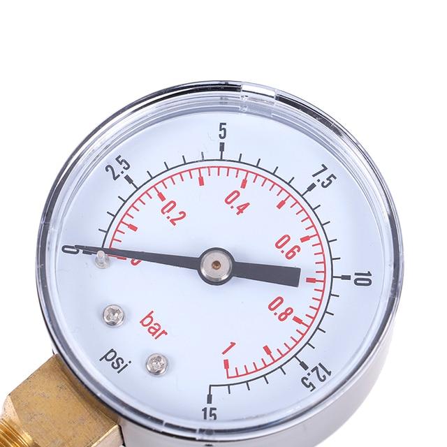 1Pcs Low Pressure Gauge For Fuel Air Oil Gas Water 50mm 0-15 PSI 0-1 Bar 1/4 BSPT 70*50*22mm