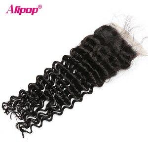 Image 3 - עמוק גל סגירה ברזילאי שיער 4x4 תחרה סגר שיער טבעי סגירת 10 20 22 24 סנטימטרים סגירת משלוח התיכון 3 חלק רמי שיער
