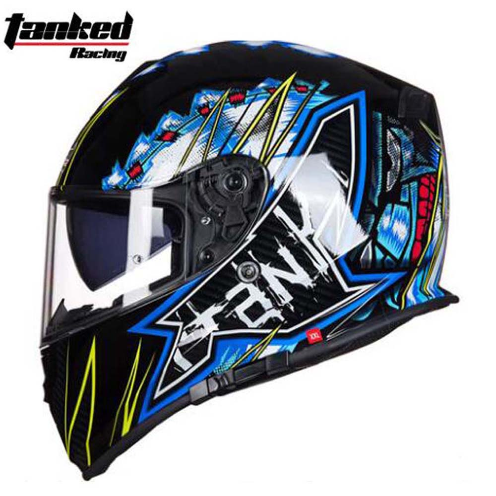 New Tanked Motorcycle Full Helmet Double Lens knight Racing Motorbike helmet safety caps ECE Certificate Size L XL XXL new motorcycle helmet protection anti fall anti impact windproof helmet retro helmet racing helmet for unisex size l xl