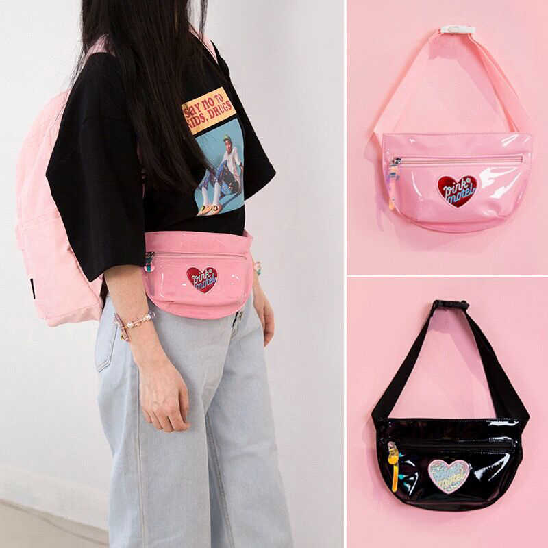 Lanzon Girls Laser Hologram Waist Pack Chest Bag Waterproof Strap Shoulder Bag Phone Earphone hole Bags Crossbody Shoulder Bag