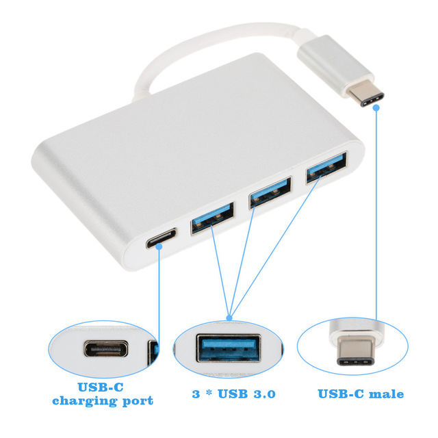 USB 3.1 Type C Hub to 3 Ports USB 3.0 & Type C PD Power Charging USB 3.0 Splitter Adapter Hub for MacBook Google Chromebook DELL