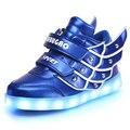 Los niños alas llevó leather shoes 7 colores luminosos zapatillas de chicos y niñas usb llevó chargable brillante sneakers kids shoes con luz