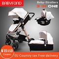 Goldene baby Luxus kinderwagen hohe landschaft baby Wagen PU material 3 in 1 kinderwagen mit auto sitz Kinderwagen CE sicherheit Babyfond
