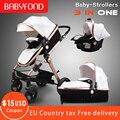 Oro bebé de lujo cochecito de bebé de paisaje bebé material de la PU 3 en 1 cochecito con asiento de coche cochecito CE seguridad Babyfond