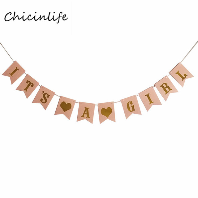 chicinlife 1set pink white it s a girl banner girl party decoration