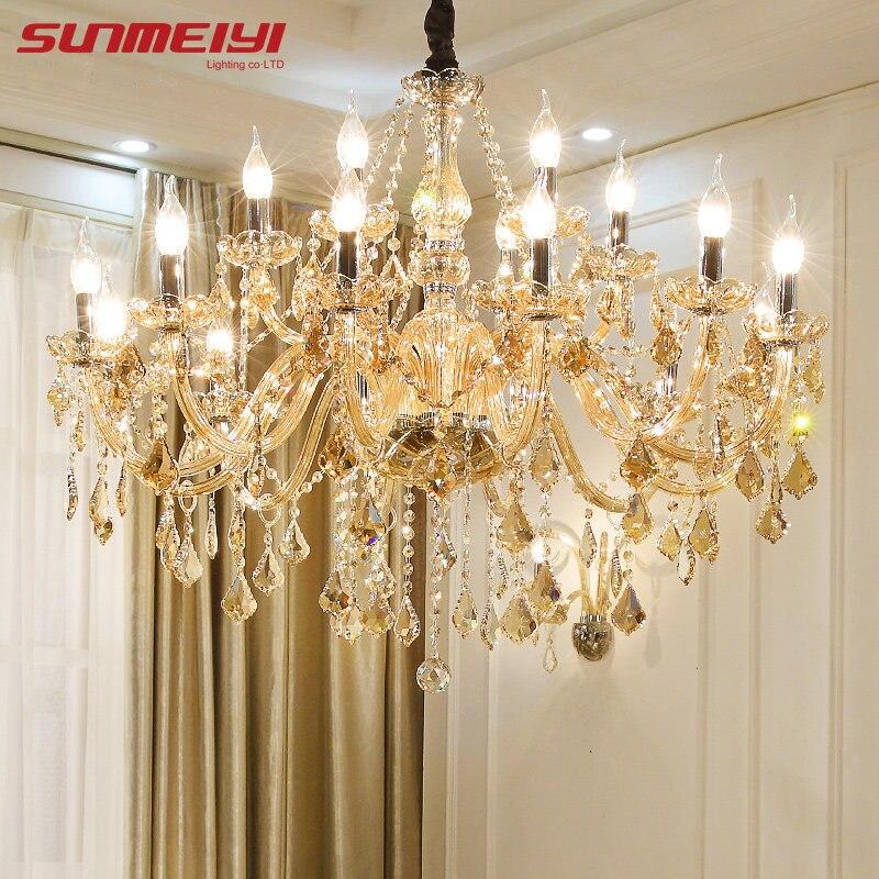 Lustres de cristal moderna iluminação para casa decoração lustre vela luxo pingentes sala estar lâmpada interior