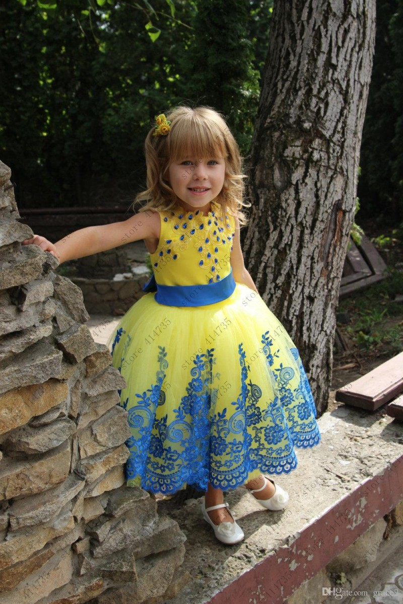 Yellow lace   flower     girl     dresses   for kids Tulle Customized first communion   dresses   vestido primera comunion