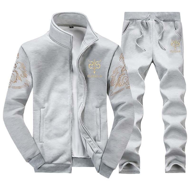Hommes ensemble 2 PC Zipper sportswear d'automne survêtement de sport homme 2018 sweat veste + casseroles costume Hoodies Moleton Masculino #6