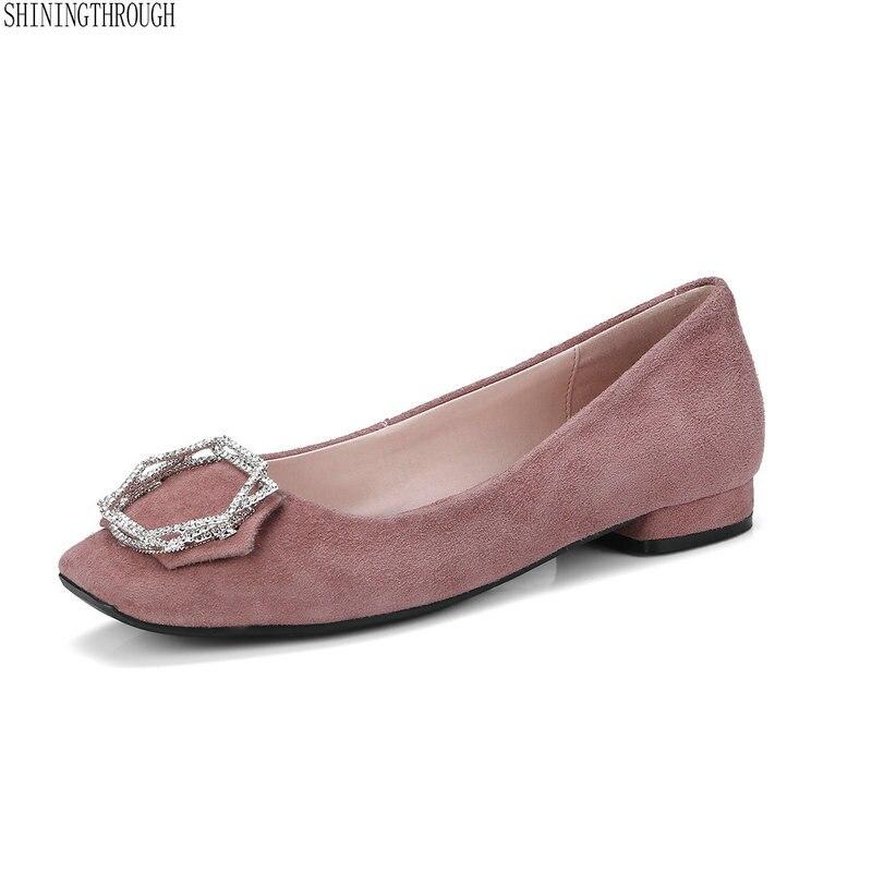 Dame Travail Carré Grande Taille Chaussures Femme Rose 34 42 Noir Véritable Bas Noir Bout Cuir Talons Bureau Robe À rose n0PwOk
