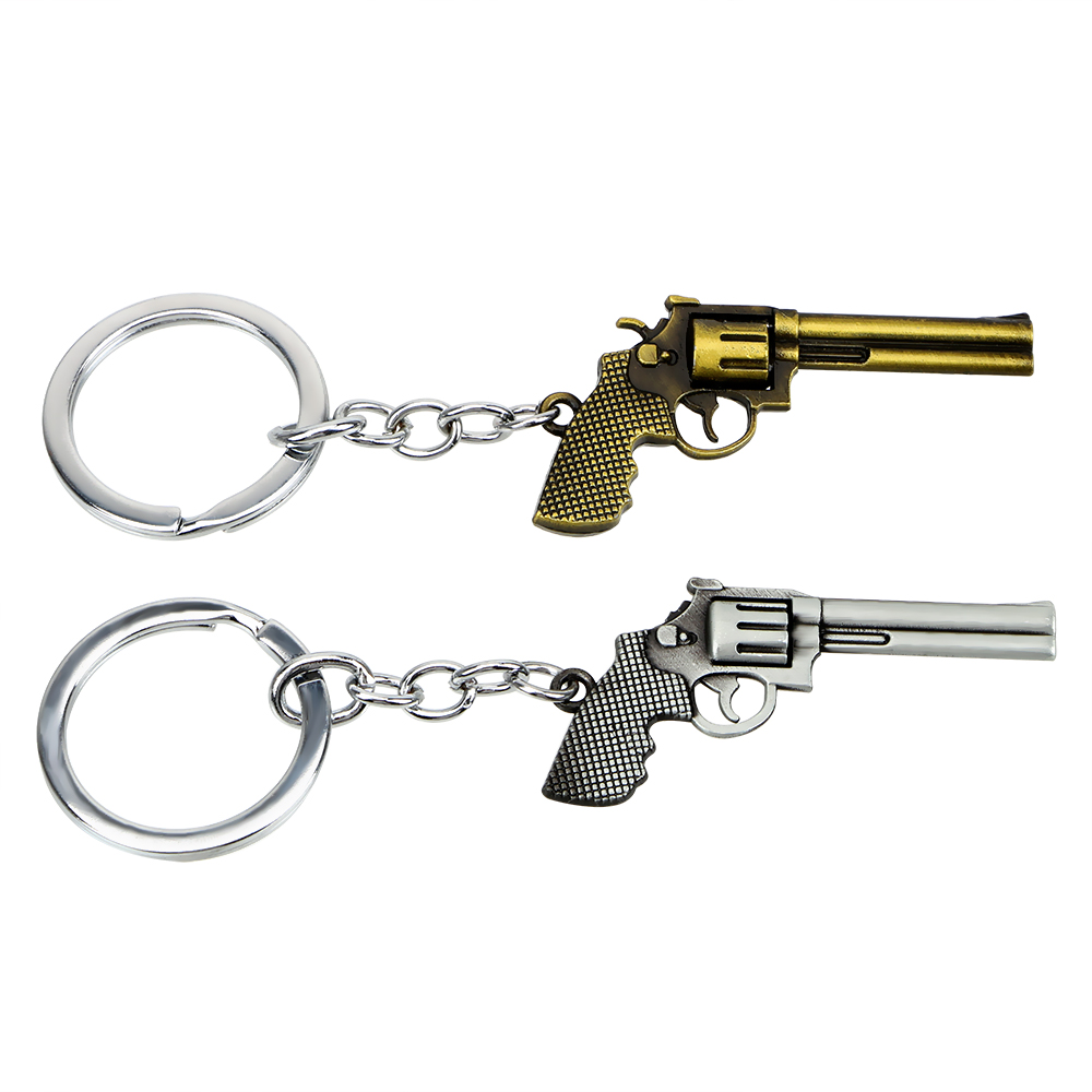 Alarm Auto Keyfob Auto Styling Pistool Model Sleutelhanger Cool Purse Bag Hangers Revolver Sleutelhangers Zinklegering Speelgoed Pistool Sleutelhanger