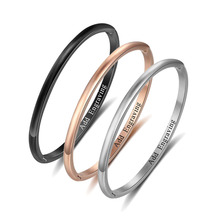 Personalized Name Engraved Screw Bracelets & Bangles 3 Colors Women DIY Fashion Jewelry Gift (BA102307)