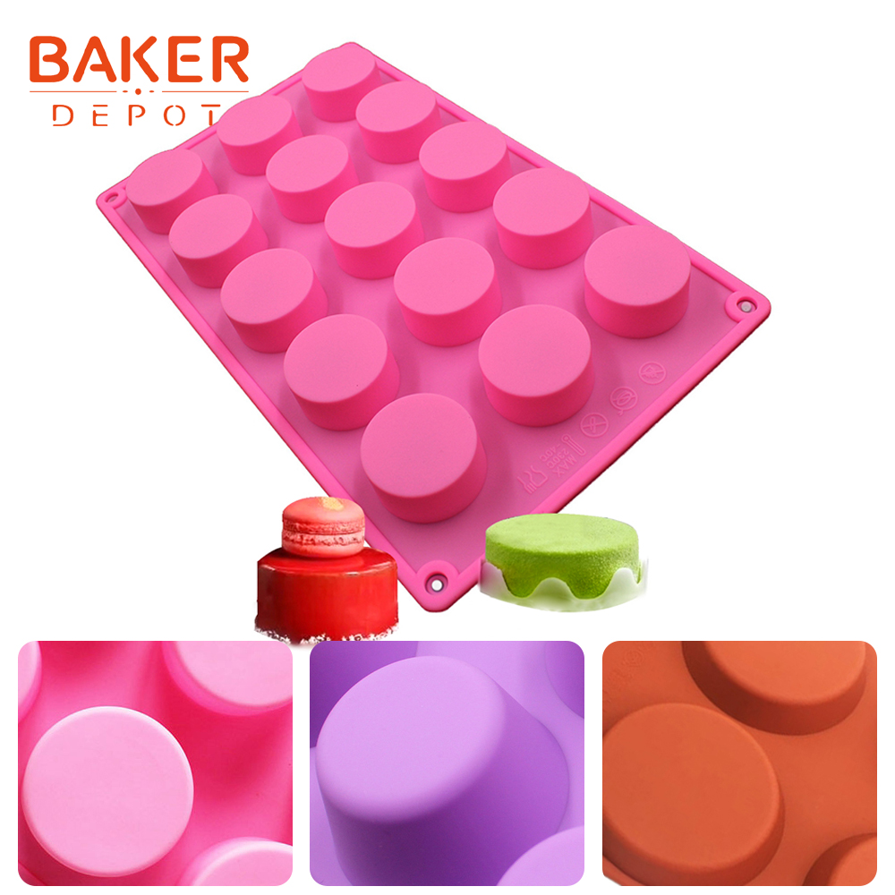 <font><b>BAKER</b></font> <font><b>DEPOT</b></font> silicone mold for soap muffin cake pastry form round jello pudding mold cake baking bakeware tool handmade soap mold image