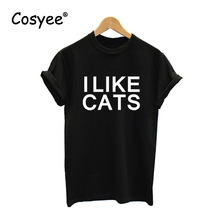 I LIKE CATS Black Letter Print 2016 New Women Cotton Hipster Casual T shirt for Lady's Summer Harajuku Top Tees Free Shipping