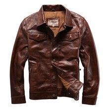 Read Description! Asian size genuine cow skin leather jacket mens cowhide casual