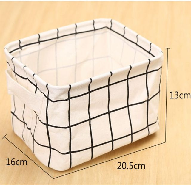 Cotton Linen Desktop Storage Basket Sundries Storage Box