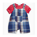 2017 Arrival Kids Wear Classics Cotton Children's Plaid Jumpsuit Baby Bib Pants Full Kids Clothes Set YD034