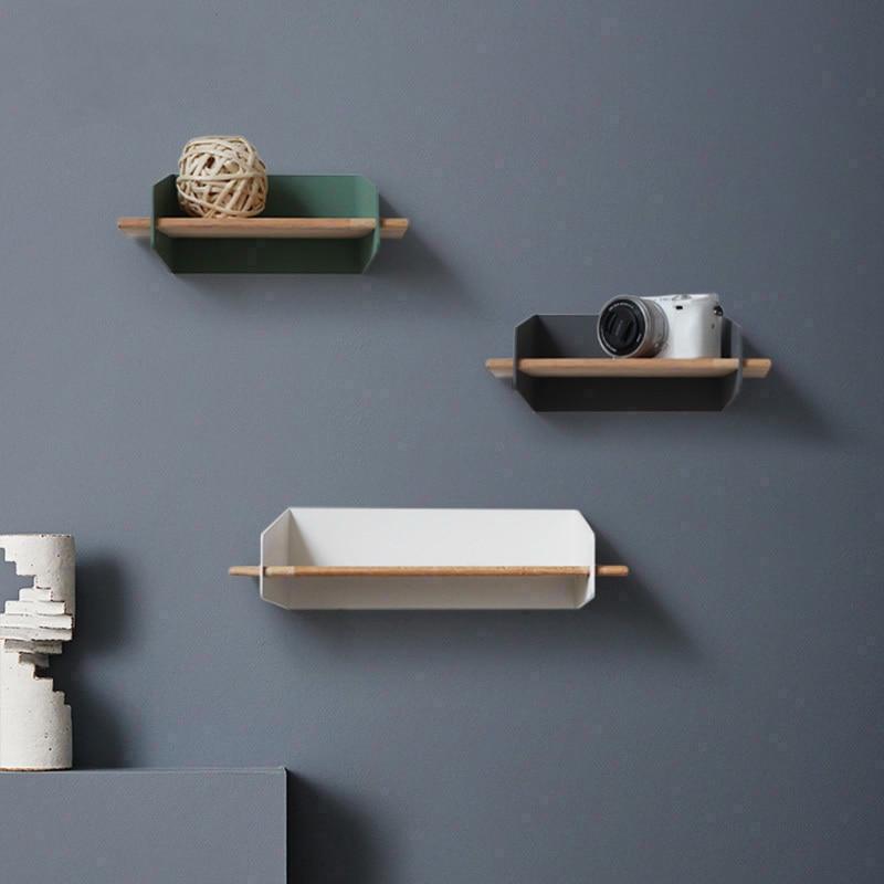 2019 Brief Wall Nordic Wall Decoration Magazine Storage Holders Racks wood Modern Design Hanger for corridor Rails bookrack - 4
