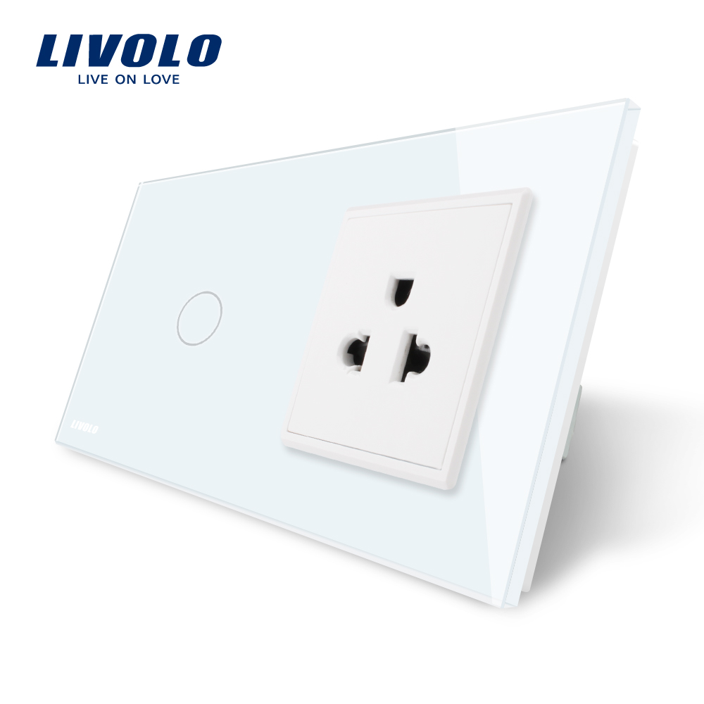 Livolo Touch Switch&US Socket,White Crystal Glass Panel, AC 110~250V,16A US Wall Socket with Switch,VL-C701-11/VL-C7C1US-11 livolo us standard 2 pins socket white crystal glass 10a ac 125 230v wall powerpoints with plug vl c3c3a 81