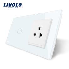 Livolo Interruptor Táctil y EE.UU. Toma, Panel de Cristal Cristal Blanco, AC 110 ~ 250 V, 16A EE.UU. Enchufe De Pared con Interruptor, VL-C701-11/VL-C7C1US-11