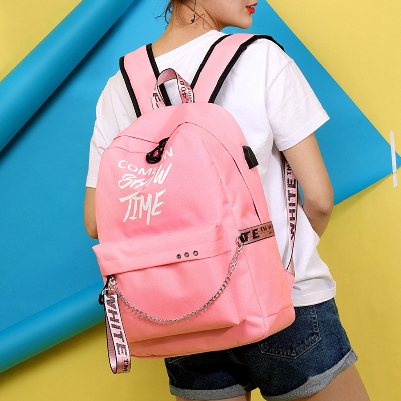 School Bag Travel Waterproof Laptop Backpack Luminous 109A Lyrics Print Charger USB Chain Luminous Letter Backpack letter print cami dress