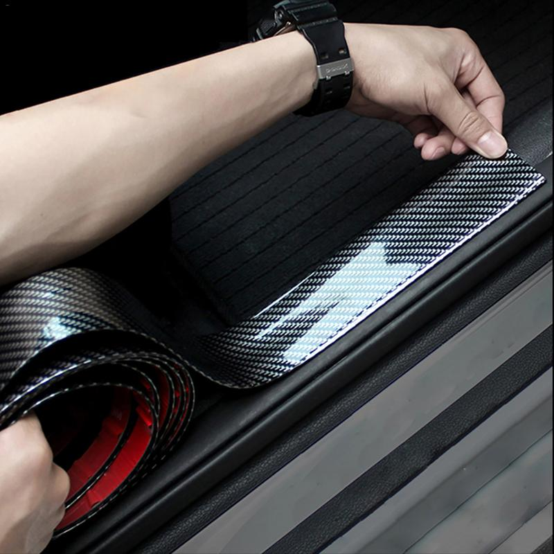Image 3 - Car Stickers Carbon Fiber Rubber Styling Door Sill Protector Goods For Hyundai Santa Fe i40 Creta Tucson HB20 ix20 ix25-in Car Stickers from Automobiles & Motorcycles