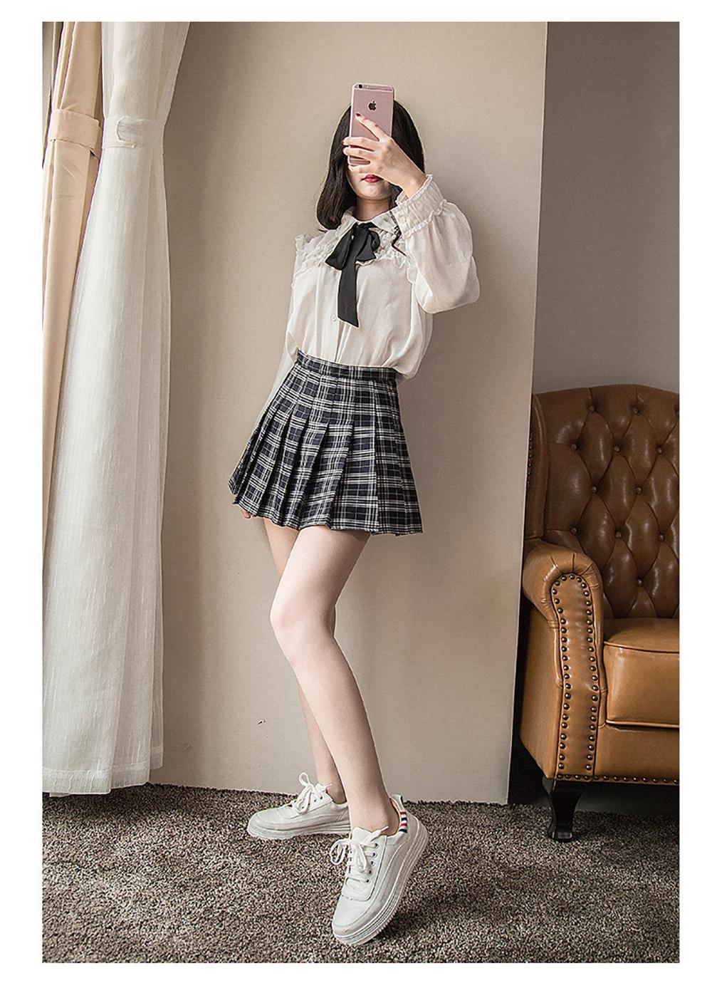 Plus Size Harajuku Short Skirt New Korean Plaid Skirt Women Zipper High Waist School Girl Pleated Plaid Skirt Sexy Mini Skirt 6