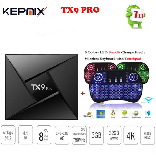 TX9 Pro 3G 32G Amlogic S912 Octa-core CPU tv box Android 7.1 OS Bluetooth 4.1 h.265 2.4g/5.8g wifi 4 k ott tv box vs h96 pro
