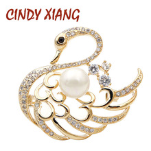 CINDY XIANG New Arrival Gold Color Zircon Swan Brooches for Women Elegant Animal Brooch Pin Wedding Corsage Fashion Jewelry Gift