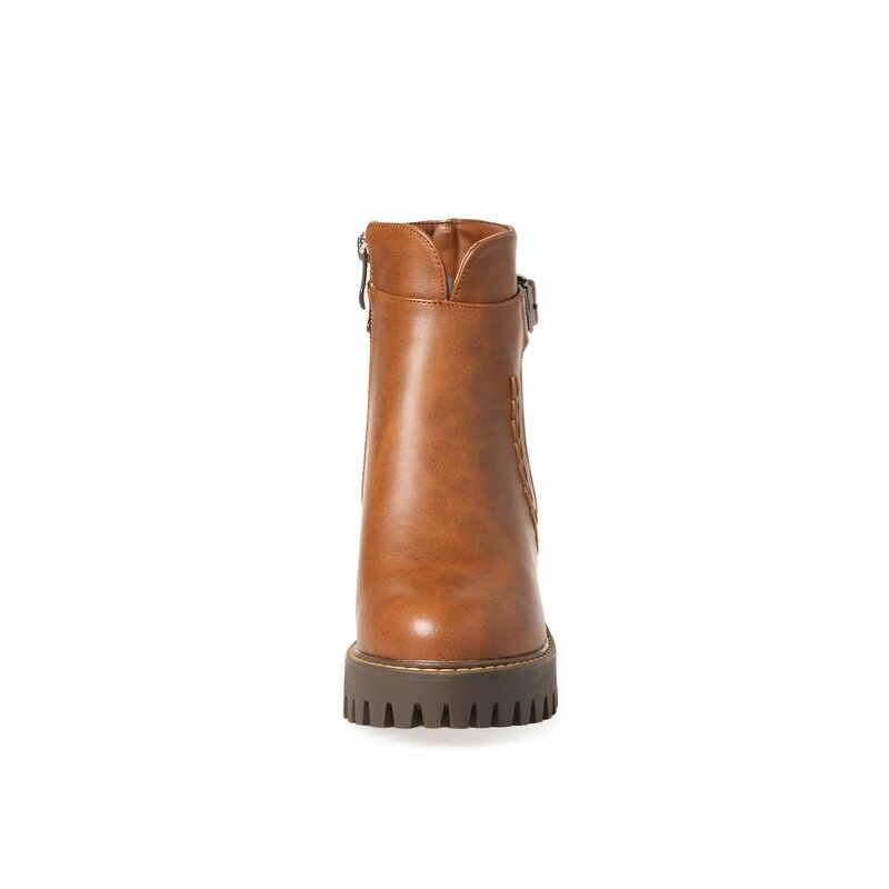 Yeni Kadın Kalın Yüksek Topuk yarım çizmeler Platformu Zip Kış Moda Kadın Ayakkabıları Sarı Siyah Haki