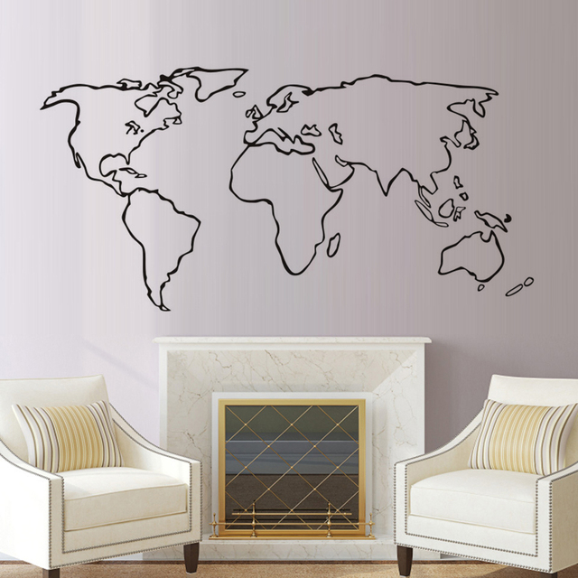 Dctop large world map vinyl wall sticker home decoration accessories dctop large world map vinyl wall sticker home decoration accessories for living room adhesive removable map publicscrutiny Images