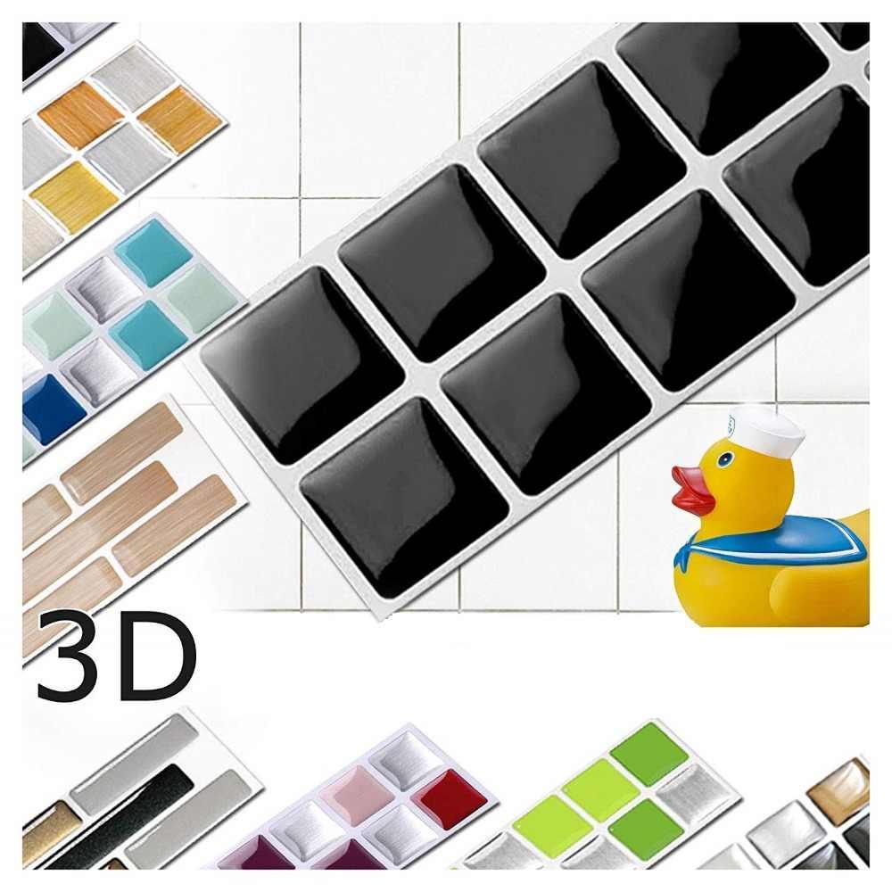 Vividtiles 6-Tấm Đen Tự Adhsive Mịn Bề Mặt Trang Trí Nội Thất Vinyl Hình Nền 3D Peel và Stick Vuông Gạch Mosaic
