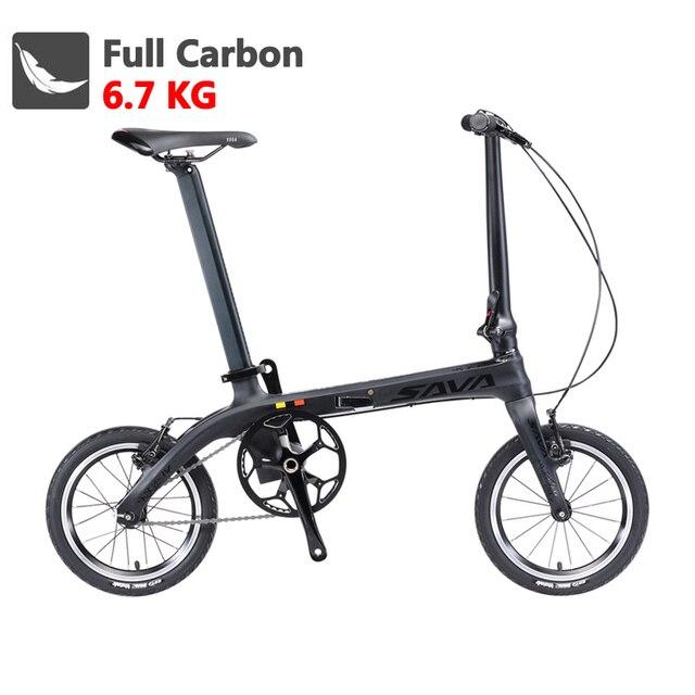 Складной велосипед SAVA складной велосипед 14 дюймов мини Велосипедное углеродное волокно ультра-легкий городской мини-велосипед складной велосипед с фарами