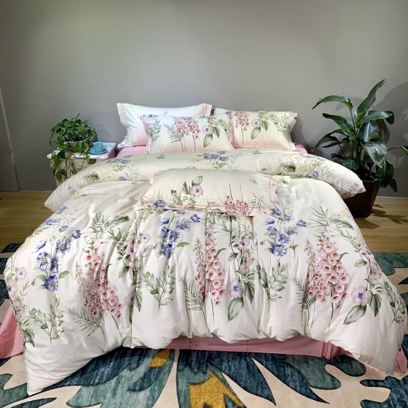 Luxury Silky Egyptian Cotton Duvet Cover Bedlinen Queen King Size Bedsheet Bedding Set Soft Bed cover