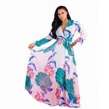 2019 summer new chiffon print dress long sleeve V-neck lace large size S-XXL-5XL