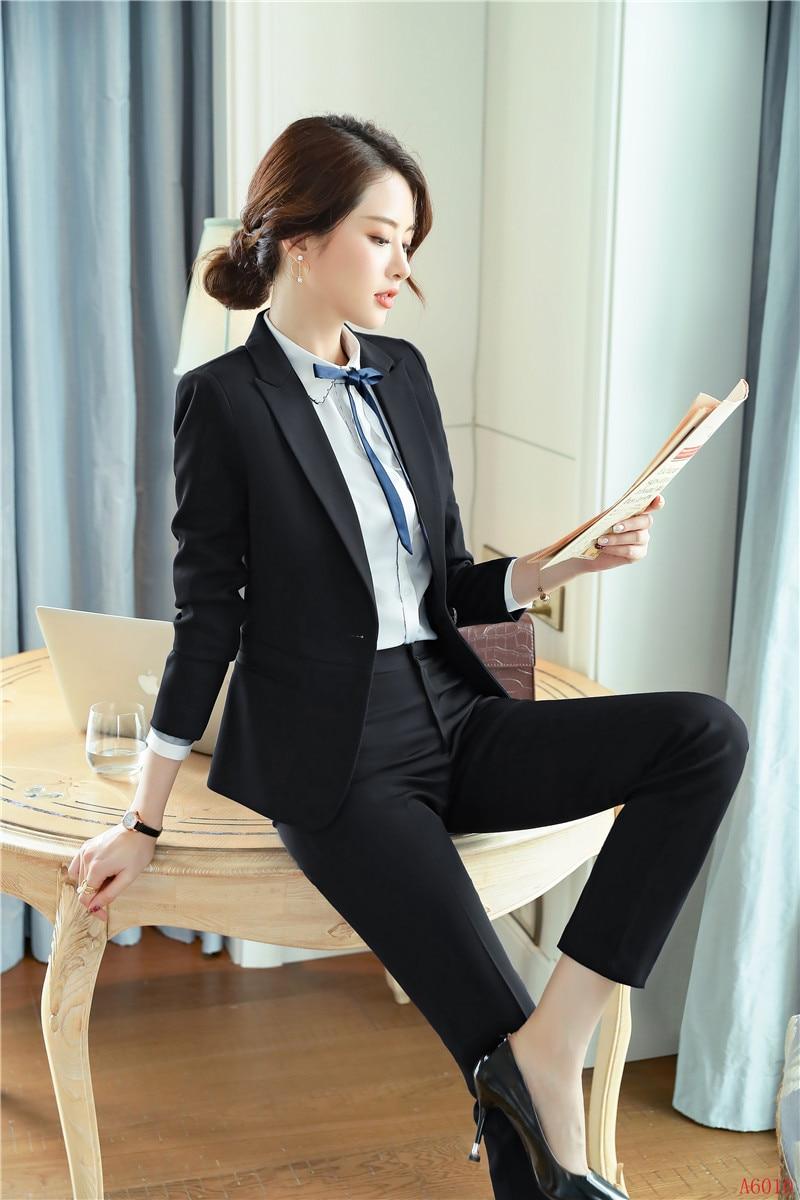Styles Uniforme Ensemble Blazer Et gris Bureau Veste Costumes Noir D'affaires Pantalons Pour Femmes Bleu Dames marine Noir Formelles SqOCwwA