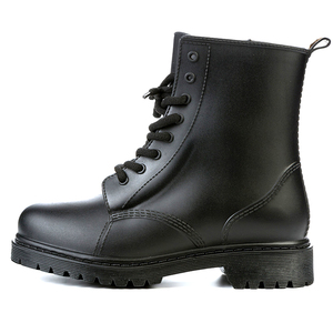 Image 5 - Feng Nong Rain Boots Waterproof Shoes Woman Water Rubber Lace Up Mature Boots Sewing Solid Flat With Shoes Chundong809