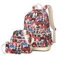 Новый повседневная женщины рюкзак холст Корейский школьные сумки для путешествий рюкзаки для девочек-подростков опрятный стиль коробки женщин мешок 3 шт. набор