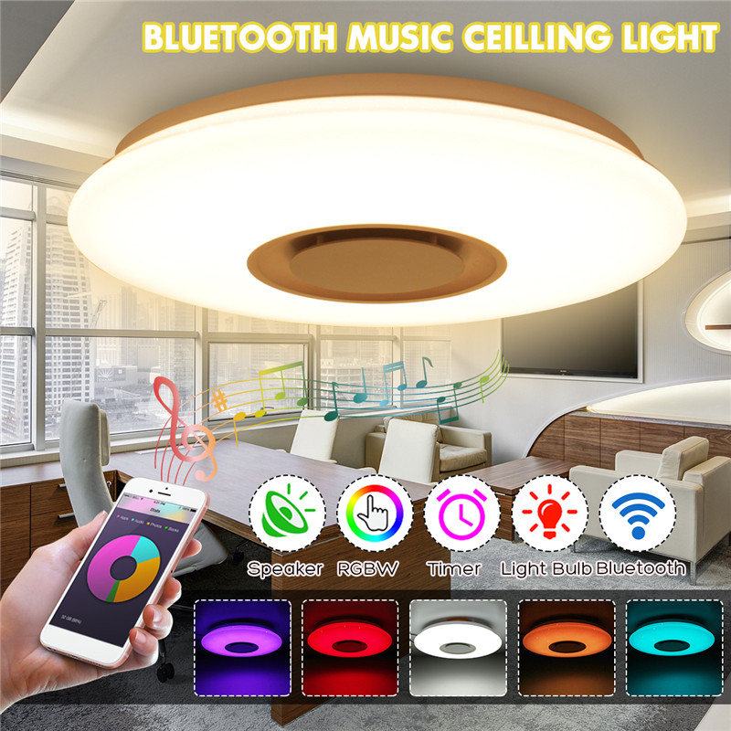 Smuxi Modern LED Ceiling Lights RGB Dimmable 24W APP Remote Control Bluetooth Music Light AC110-220V