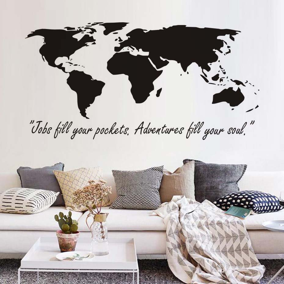 Diy Home Decor Removable Vinyl Jobs Till Your Pockets Adventures Soul Wall Stickers World Map For Kids Room Decoration