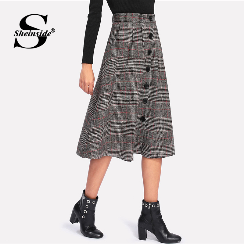 Sheinside Grey Autumn Women Midi Skirt High Waist Elegant Plaid Skirts 2018 Clothes Ladies Wales Check Single Breasted Skirt