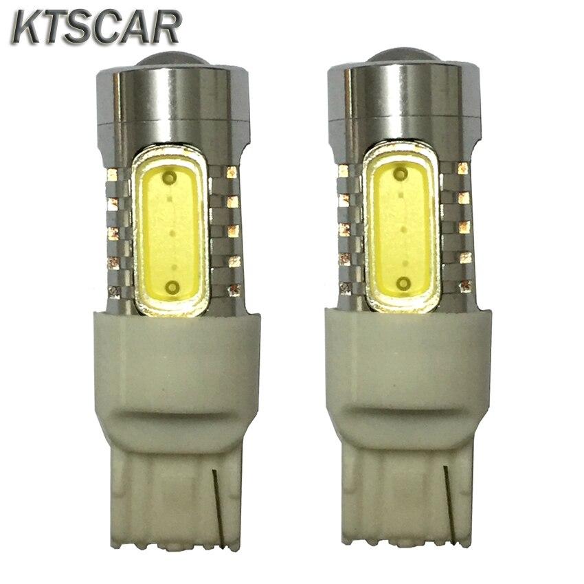 2шт/много 7,5 Вт в T20 WY21W LED сигнала поворота света белый желтый 5 cob чип с объективом 7440 Автомобильные светодиодные огни заднего хода