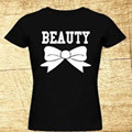 BEAUTY Letter Bow Pattern Short Sleeve Harajuku T-shirt 2017 Summer Women Fashion Femme Tees Cotton T Shirt Camisetas Tops