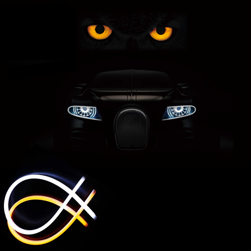 Car Styling 2 color LED Flexible Tube DRL headlamp strip light daytime running light yellow&white auto front lights for all car 2017 2pcs 30cm led white car flexible drl daytime running strip light soft tube lamp luz ligero new hot drop shipping oct10