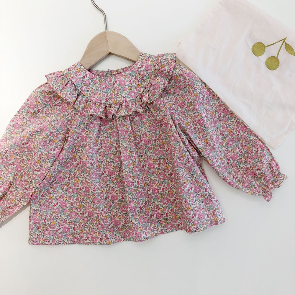 kids blouse new fall 2018 girls tops Pink floral toddler blouse baby girl long sleeve clothes baby girl fall blouses все цены