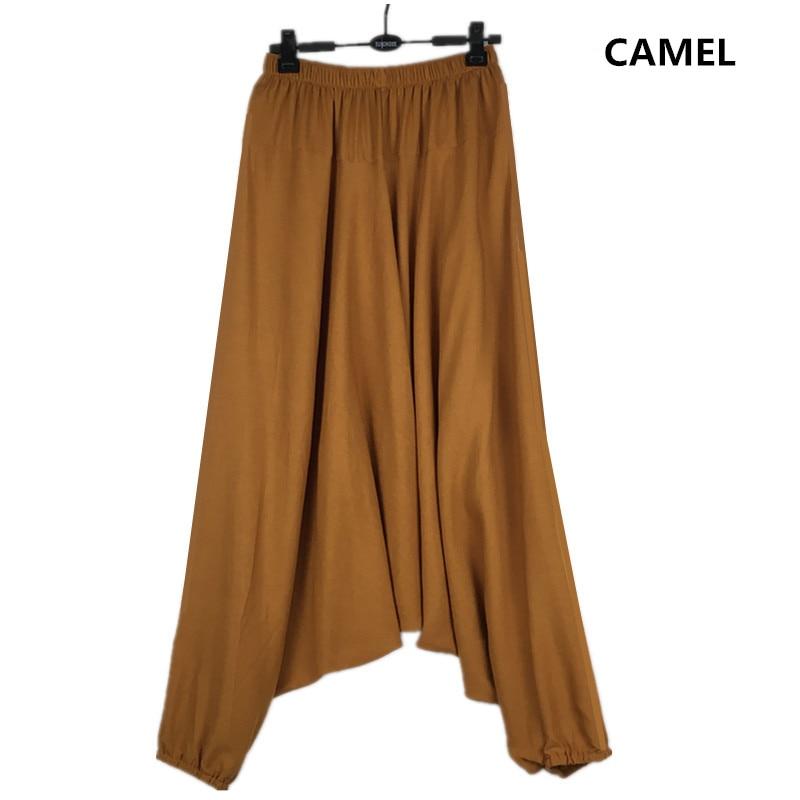 Image 5 - 2019 Spring women Casual Loose  Harem Pants Solid Elastic Waist Summer Wide Leg Pants Plus Size Cotton linen Trousers M 4XL 5XL-in Pants & Capris from Women's Clothing