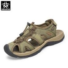 Más el Tamaño 38-47 Hombres Sandalias de Cuero Genuino Zapatos de Los Hombres de Moda de Verano Zapatillas Sandalias de Los Hombres Respirables Zapatos Causales cuero