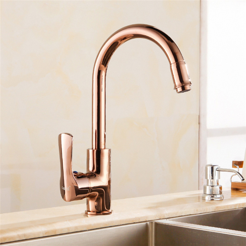 Kitchen Faucets Rose Gold/Golden/Chrome Brass Swivel Kitchen Tap Faucets Hot Cold Wash Basin Mixer Water Tap Torneira Cozinha