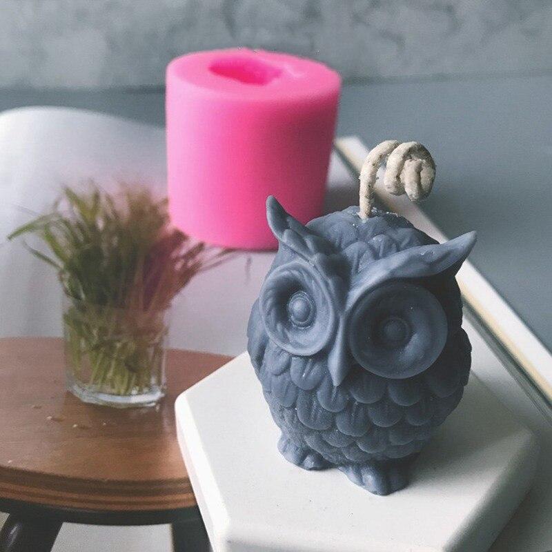 3D búho Animal silicona jabón molde resina arcilla vela moldes Fondant pastel decoración herramientas Chocolate caramelo pastel hornear moldes